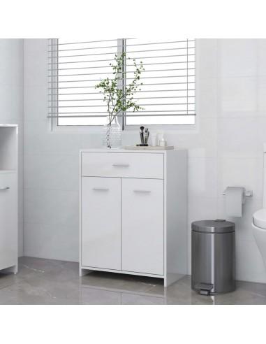 Vonios kambario spintelė, balta, 60x33x80cm, MDP, ypač blizgi | Vonios baldų komplektai | duodu.lt