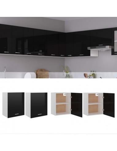 Pakabinamos spintelės, 2vnt., juodos, 50x31x60cm, MDP, blizgios | Virtuvės spintelės | duodu.lt