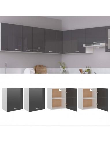 Pakabinamos spintelės, 2vnt., pilkos, 50x31x60cm, MDP, blizgios | Virtuvės spintelės | duodu.lt