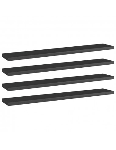Knygų lentynos plokštės, 4vnt., juodos, 60x10x1,5cm, MDP   Lentynų priedai   duodu.lt
