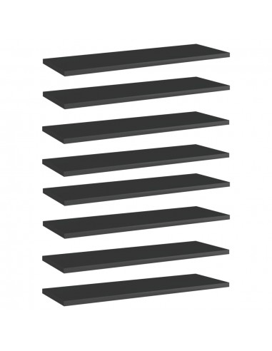 Knygų lentynos plokštės, 8vnt., juodos, 60x20x1,5cm, MDP   Lentynų priedai   duodu.lt