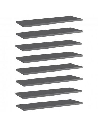 Knygų lentynos plokštės, 8vnt., pilkos, 60x20x1,5cm, MDP   Lentynų priedai   duodu.lt