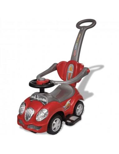 Raudonas Vaikiškas Automobilis su Stūmimo Rankena | Stumiamos ir Pedalais Minamos Transporto Priemonės | duodu.lt