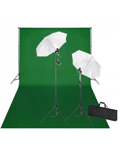 Rinkinys fotostudijai, žalias fonas 600x300cm ir šviestuvai    Studijinės Lempos ir Blykstės   duodu.lt