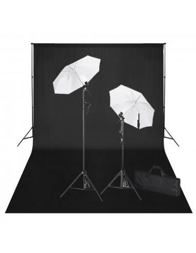 Rinkinys fotostudijai, juodas fonas 600x300cm ir šviestuvai  | Studijinės Lempos ir Blykstės | duodu.lt