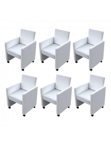 Valgomojo kėdės, 6 vnt., dirbtinė oda, baltos | Virtuvės ir Valgomojo Kėdės | duodu.lt