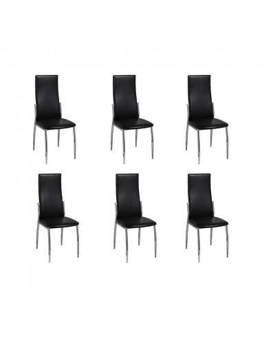 Valgomojo kėdės 6 vnt., chromas ir juoda oda | Virtuvės ir Valgomojo Kėdės | duodu.lt