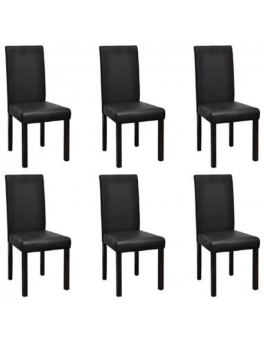 Valgomojo kėdės, 6 vnt., dirbtinė oda, juodos   Virtuvės ir Valgomojo Kėdės   duodu.lt