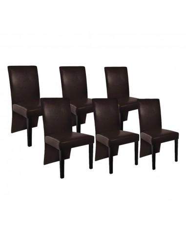 Valgomojo kėdės, 6 vnt., dirbtinė oda, tamsiai rudos   Virtuvės ir Valgomojo Kėdės   duodu.lt