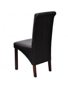 Valgomojo stalas ir kėdės, 5vnt., dirbtinė oda, ąžuolas, juod. | Virtuvės ir Valgomojo Baldų Komplektai | duodu.lt