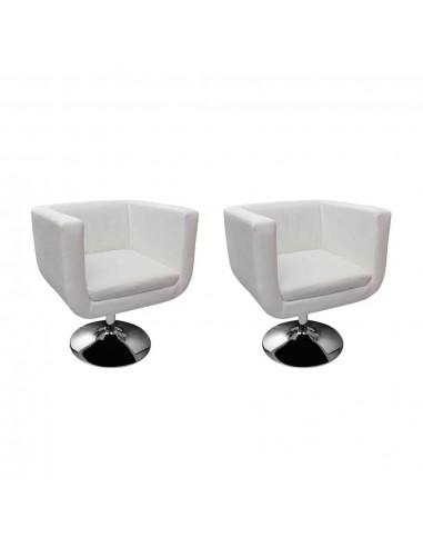 Baro kėdės, 2 vnt., dirbtinė oda, baltos   Foteliai, reglaineriai ir išlankstomi krėslai   duodu.lt