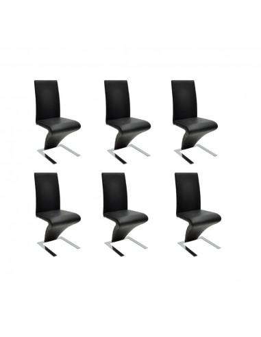 Valgomojo kėdės 6 vnt., dirbtinė oda, juodos  | Virtuvės ir Valgomojo Kėdės | duodu.lt
