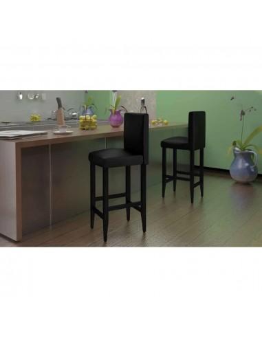 Baro kėdės, 4 vnt., dirbtinė oda, juodos  | Stalai ir Baro Kėdės | duodu.lt