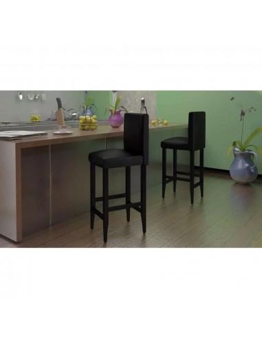 Baro kėdės, 6 vnt., dirbtinė oda, juodos    Stalai ir Baro Kėdės   duodu.lt