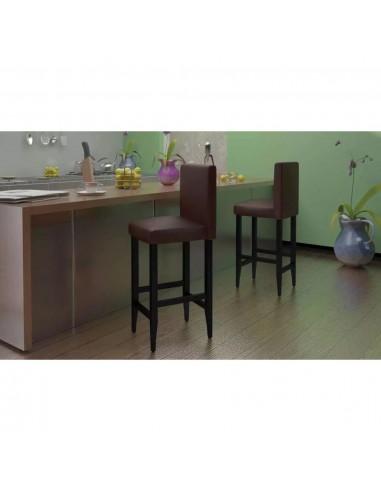 Baro kėdės, 6 vnt., dirbtinė oda, rudos    Stalai ir Baro Kėdės   duodu.lt