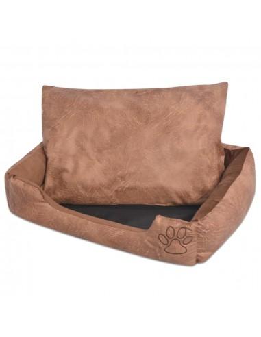 Šuns guolis su pagalvėle, PU, dirbtinė oda dydis M, smėlinis | Šunų Gultai | duodu.lt