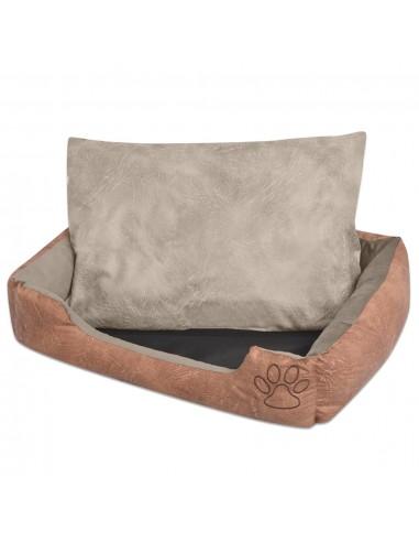 Šuns guolis su pagalvėle, PU, dirbtinė oda dydis L, smėlinis | Šunų Gultai | duodu.lt