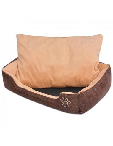 Šuns guolis su pagalvėle, PU, dirbtinė oda, dydis XXL, rudas | Šunų Gultai | duodu.lt