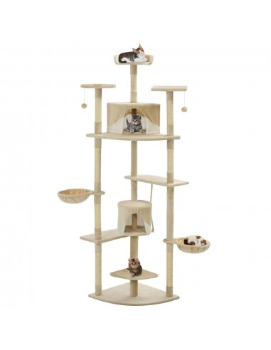 Draskyklė katėms su stovu iš sizal., 203cm, smėlio sp. ir balta | Draskyklės katėms | duodu.lt