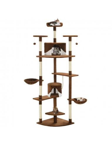 Draskyklė katėms su stovu iš sizalio, 203cm, ruda ir balta  | Draskyklės katėms | duodu.lt