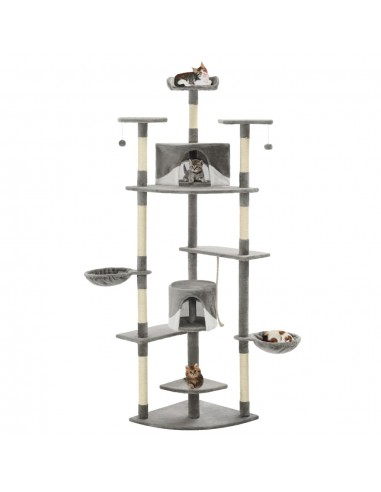 Draskyklė katėms su stovu iš sizalio, 203cm, pilka ir balta  | Draskyklės katėms | duodu.lt