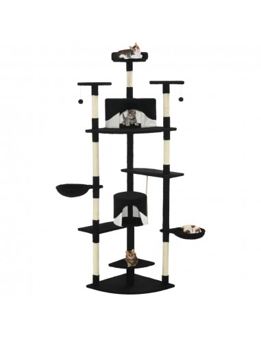 Draskyklė katėms su stovu iš sizalio, 203cm, juoda ir balta  | Draskyklės katėms | duodu.lt