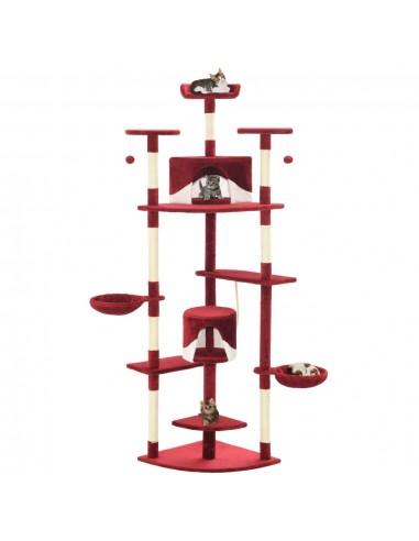 Draskyklė katėms su stovu iš sizalio, 203cm, raudona ir balta  | Draskyklės katėms | duodu.lt