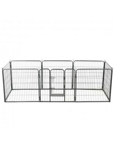 Šunų aptvaras, 8 dalių, plienas, 80x80cm, juodas | Būdos ir voljerai šunims | duodu.lt