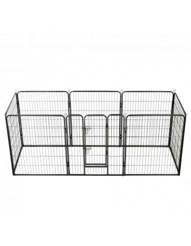 Šunų aptvaras, 8 dalių, plienas, 80x100cm, juodas   Būdos ir voljerai šunims   duodu.lt
