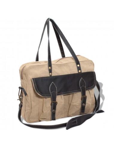 Krepšys, drobė ir tikra oda, smėlio spalva   Rankinės   duodu.lt