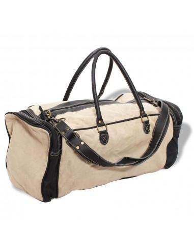 Krepšys, drobė ir tikra oda, kreminės spalvos   Rankinės   duodu.lt