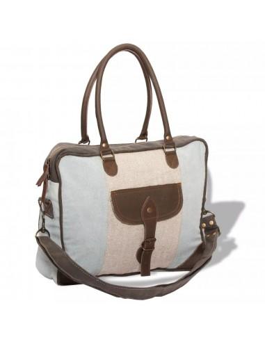 Krepšys su ilgu dirželiu, drobė ir tikra oda, mėl. ir krem. sp. | Rankinės | duodu.lt