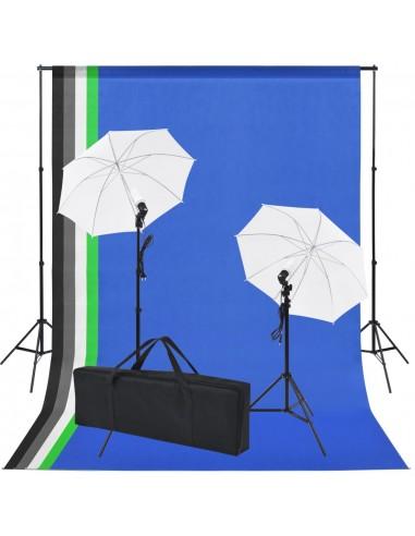 Fotostudijos rinkinys: 5 spalvoti fonai ir 2 skėčiai   Studijinės Lempos ir Blykstės   duodu.lt