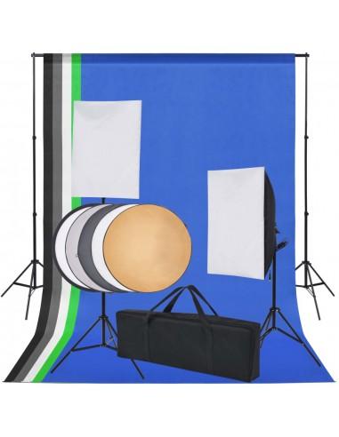 Fotostudijos rinkinys: 5 spalvoti fonai ir 2 šviesdėžės | Studijinės Lempos ir Blykstės | duodu.lt