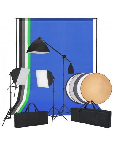 Fotostudijos komplektas su šviesdėžėmis, fonu ir reflektoriumi   Studijinės Lempos ir Blykstės   duodu.lt