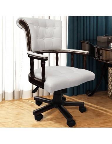 Chesterfield kapitono stiliaus biuro kėdė, pasukama, balta | Ofiso Kėdės | duodu.lt