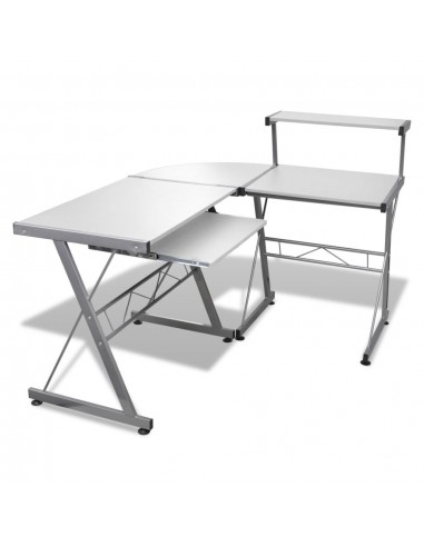 Kampinis Kompiuterio Stalas su Ištraukiamu Padėklu Klaviatūrai, Baltas | Rašomieji Stalai | duodu.lt