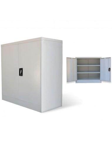 Biuro spintelė, 2 durys, 90x40x90cm, pilka, metalas    Dokumentų spintos   duodu.lt