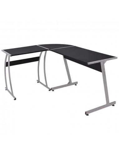 Kampinis rašomasis stalas, L formos, juodas    Rašomieji Stalai   duodu.lt