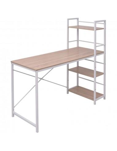 Stalas su 4 pakopų knygų lentyna, ąžuolo sp.  | Rašomieji Stalai | duodu.lt