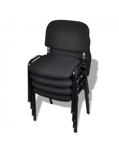 Sukraunamos viena ant kitos biuro kėdės, 4 vnt., audinys, juod. | Ofiso Kėdės | duodu.lt