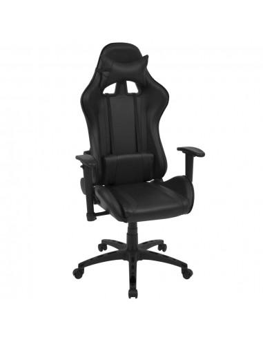 Atlošiama biuro/žaidimų kėdė, dirbtinė oda, juoda   Ofiso Kėdės   duodu.lt