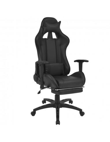 Atlošiama biuro/žaidimų kėdė su atrama kojoms, juoda | Ofiso Kėdės | duodu.lt