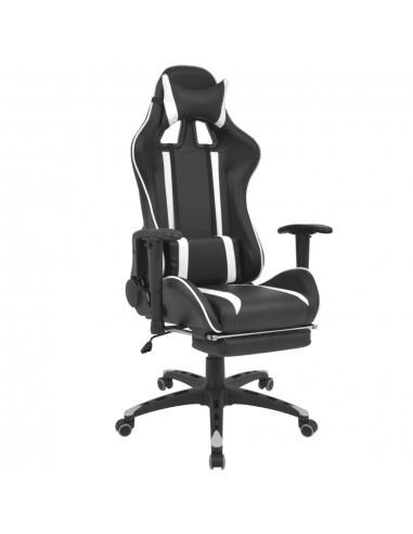 Atlošiama biuro/žaidimų kėdė su atrama kojoms, baltos spalvos   Ofiso Kėdės   duodu.lt
