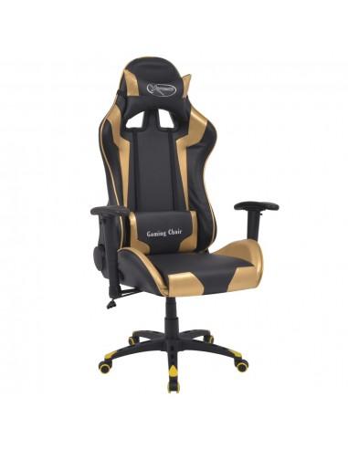 Atlošiama biuro/žaidimų kėdė, dirbtinė oda, aukso spalvos | Ofiso Kėdės | duodu.lt