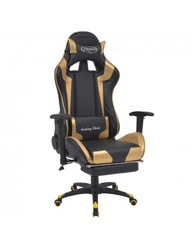 Atlošiama biuro/žaidimų kėdė su atrama kojoms, auksinės spalvos   Ofiso Kėdės   duodu.lt