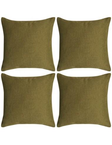 Pagalvėlių užvalkalai, 4 vnt., lino imitacija, žali, 40 x 40 cm   Dekoratyvinės pagalvėlės   duodu.lt