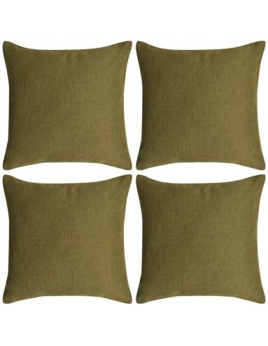 Pagalvėlių užvalkalai, 4 vnt., lino imitacija, žali, 50 x 50 cm   Dekoratyvinės pagalvėlės   duodu.lt