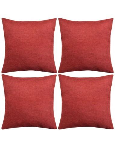Pagalvėlių užvalkalai, 4 vnt., lino imitacija, vyšniniai, 40x40 cm   Dekoratyvinės pagalvėlės   duodu.lt
