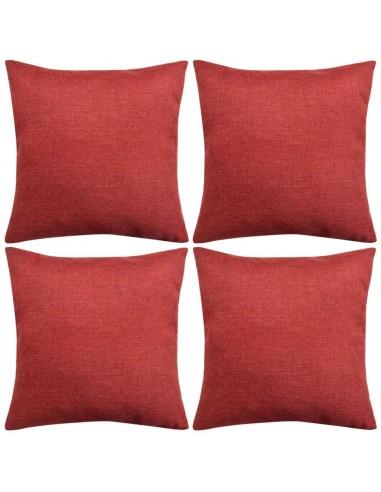 Pagalvėlių užvalkalai, 4 vnt., lino imitacija, vyšniniai, 50 x 50 cm   Dekoratyvinės pagalvėlės   duodu.lt